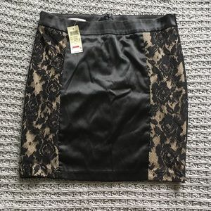 Arden B Satin and Lace Skirt